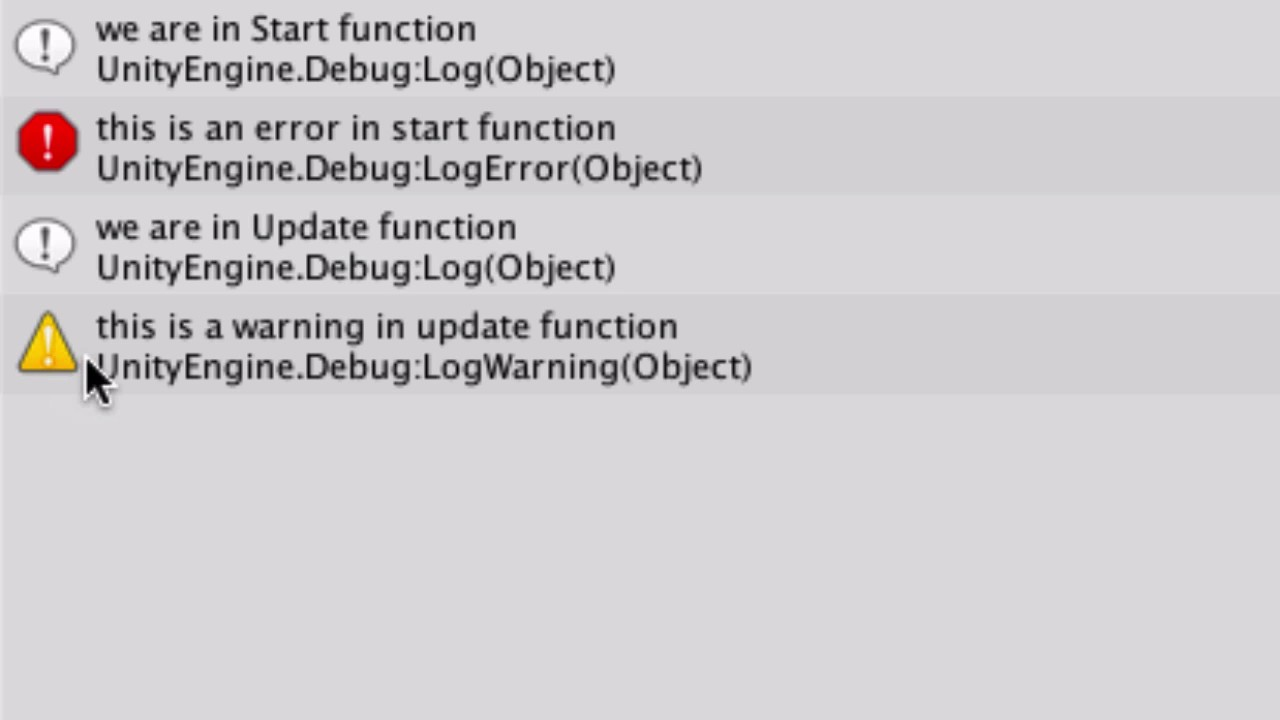 Unity 5 C# How to add message to Console using Debug Log()