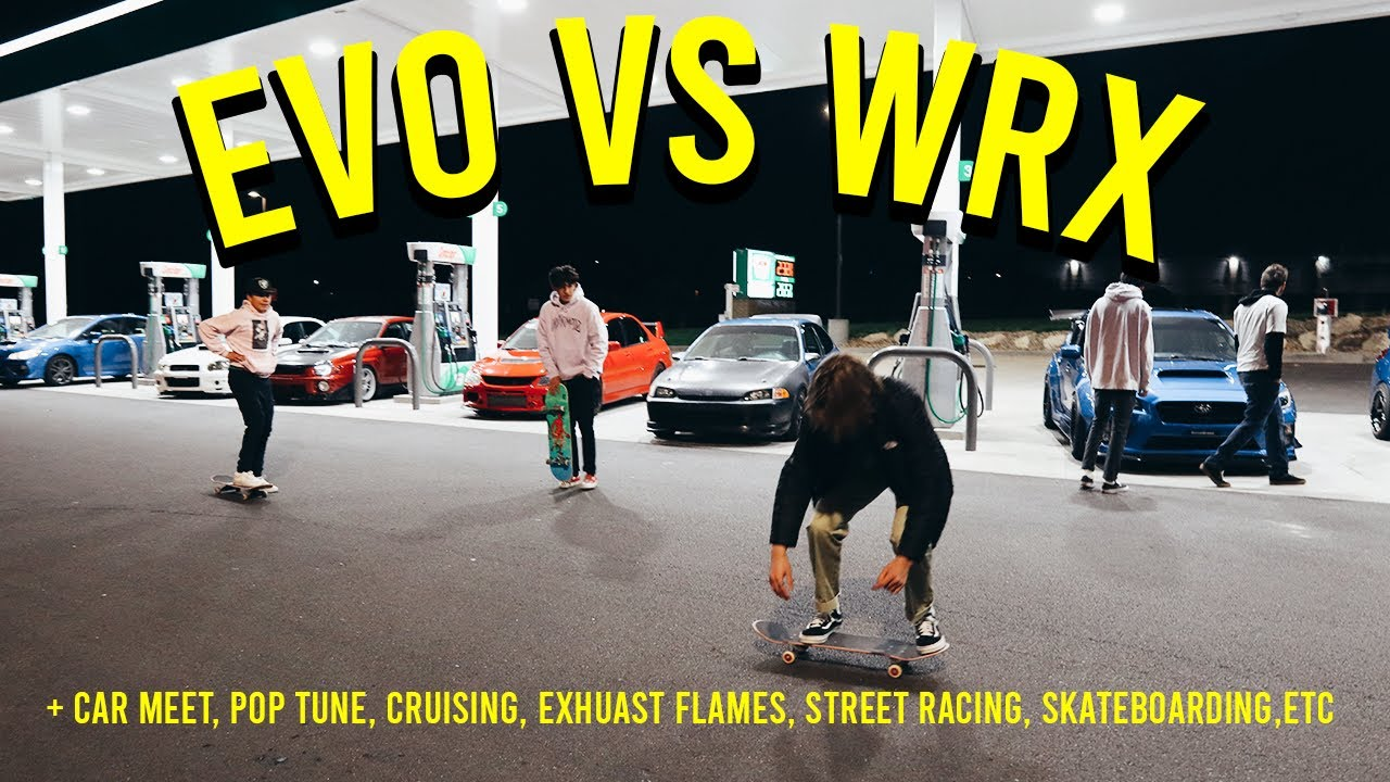 EVO 9 VS WRX! Big flames, Pop Tune, and JDM cars