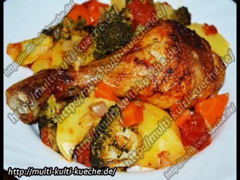 Hähnchenkeulen Hähnchenschenkel mit Gemüse aus dem