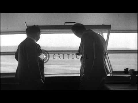 Captain Ernst Lehman is ed aboard zeppelin Hindenburg at Lakehurst Naval...HD Stock Footage
