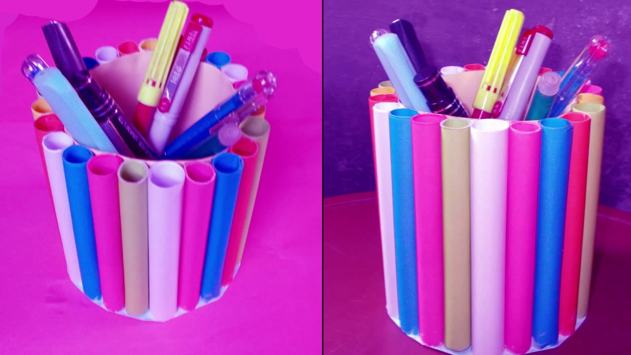 Creative Pen Stand Designs : How to make a colorful paper pen holder pencil