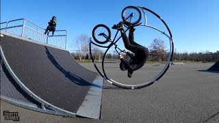 Roller Coaster Bike Drops In Ramp For The First Time Ever!