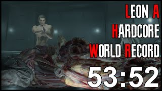 Resident Evil 2 Remake - Leon A Hardcore Speedrun World Record - 53:52