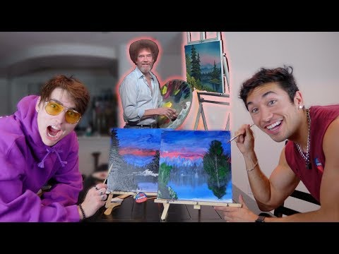 Following A Bob Ross Painting Tutorial w/ Colby Brock