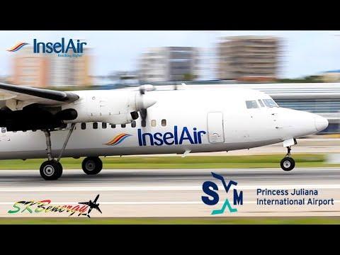 Insel Air Fokker 50 arrival - departure from St. Maarten Princess Juliana Int'l Airport