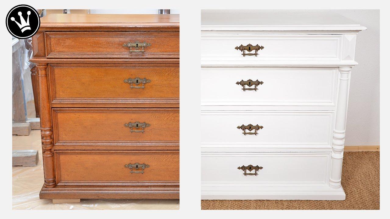Shabby Chic Tutorial - alte Möbel/Kommode aus Eiche mit Kreidefarbe