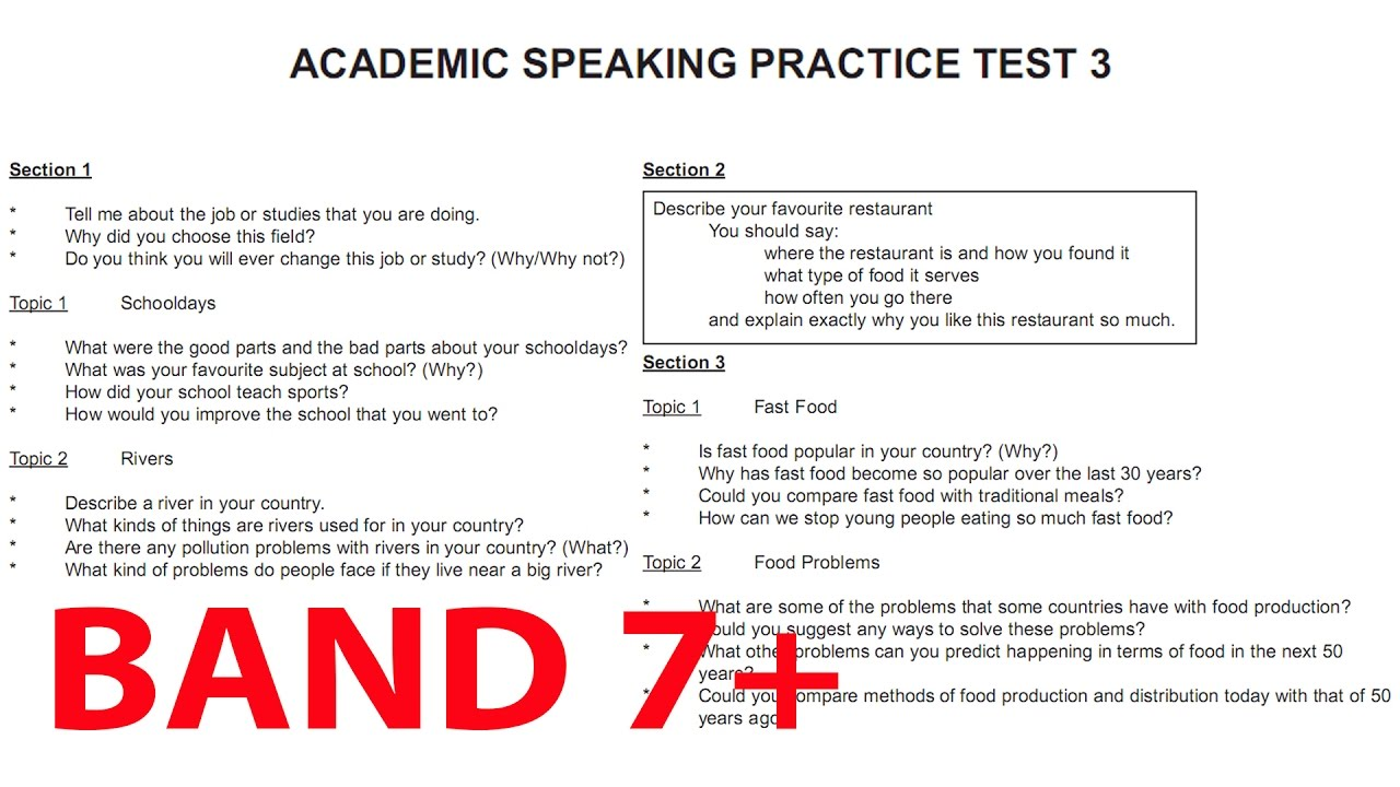 IELTS ACADEMIC SPEAKING PRACTICE TEST 3 | IELTS SPEAKING ...