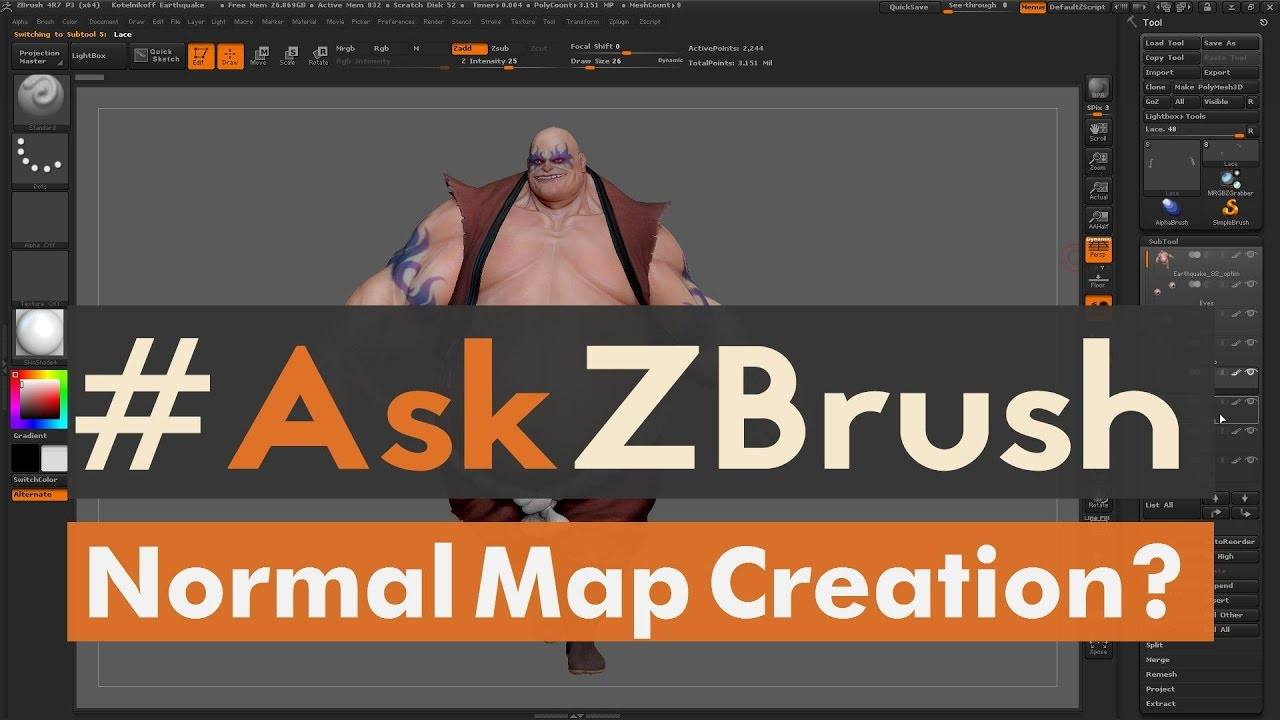 "#AskZBrush: ""How can I create a Normal Map for a model inside of ZBrush?"""
