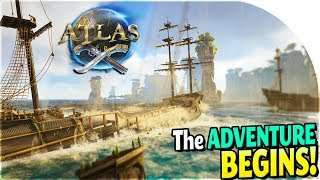 ATLAS GAMEPLAY PART 1 - Freeport Town + FIRST SHIP + Island Survival in NEW Atlas Pirate Survival
