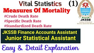 JKSSB Mathematics/Statistics for  PANCHAYAT ACCOUNT ASSISTANT|Vital Statistics|Measures of Mortality