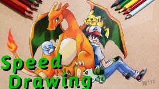 Como dibujar a Ash y sus Pokémon (Speed drawing) | How to draw Pokémon