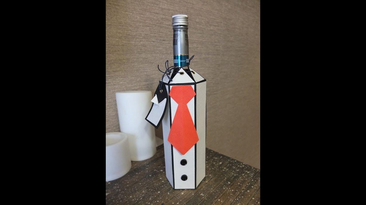 декор бутылки к 23 февраля своими руками/подарок мужчине