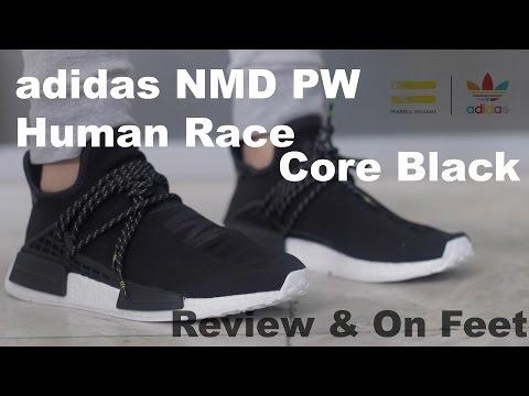 nmd human race black on feet