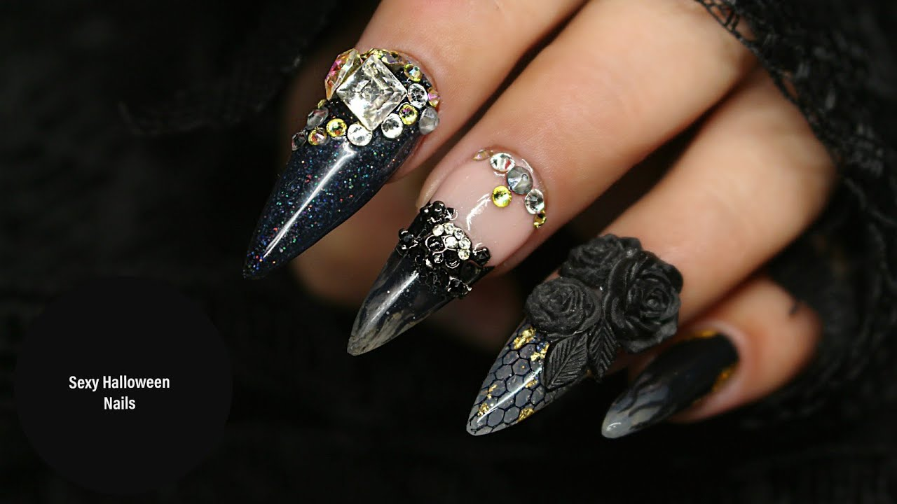 Badass Halloween Stiletto Nails: 3d Acrylic Roses, Smoke ...