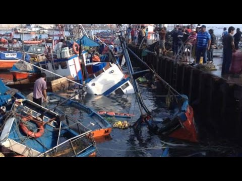 All Total Footages Chile Earthquake , Tsunami, Flood Hit ||