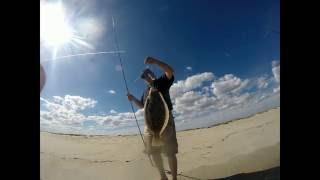 "Surf Fishing For Dusky SHARK on Bunker Chunks & 21"" Keeper Fluke On Gulp"
