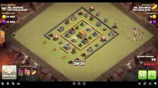 Clash of clans: Th4 vs Th6 3 star war attack