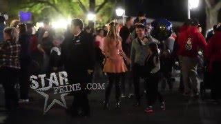Matt Bellamy enjoys a night at Disneyland with girlfriend Elle Evans and son Bingham in Anaheim, CA.