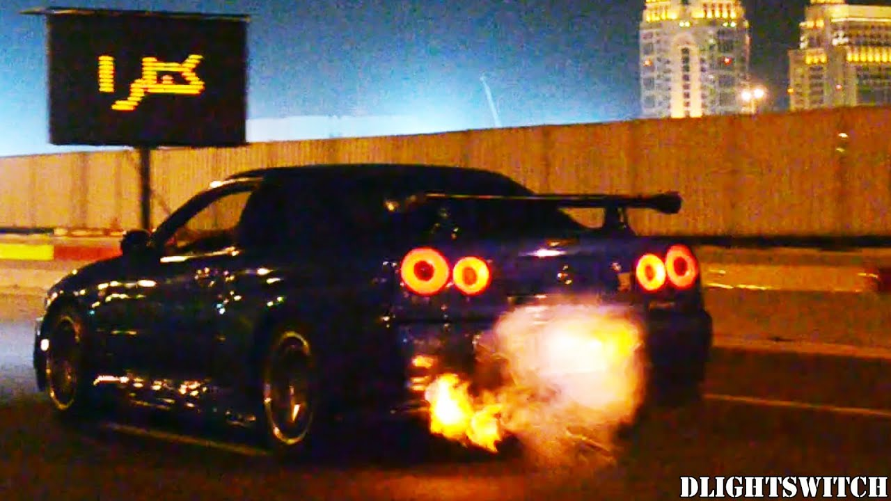 R34 Nissan Skyline GT R FLAMES At Night!   YouTube