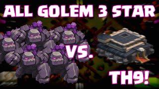Clash Of Clans ALL GOLEM 3-STAR TROLL RAID | ALL GOLEMS Attack On A Townhall 9 Base