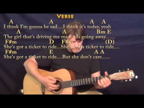 Ticket to Ride (The Beatles) Guitar Cover Lesson with Chords/Lyrics