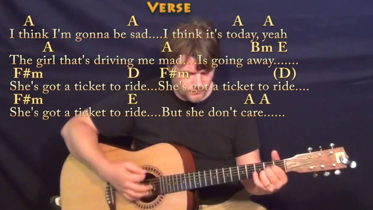 Ticket To Ride The Beatles Guitar Cover Lesson With Chordslyrics