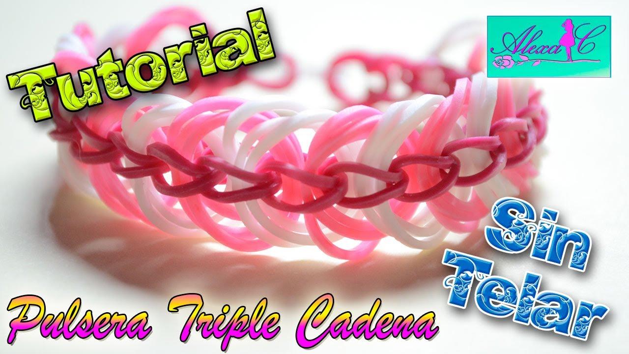 da132e01986f ♥ Tutorial: Pulsera Triple Cadena de gomitas (sin telar) ♥