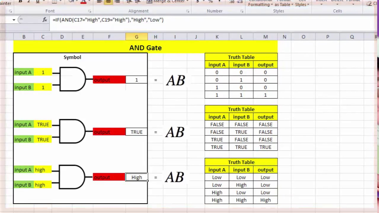 And Gate Truth Table In Excel Youtube Symbol