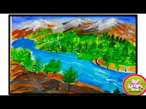 Snowy 🗻 MOUNTAIN step by step acrylic painting tutorial//Himachal Pradesh scenery drawing