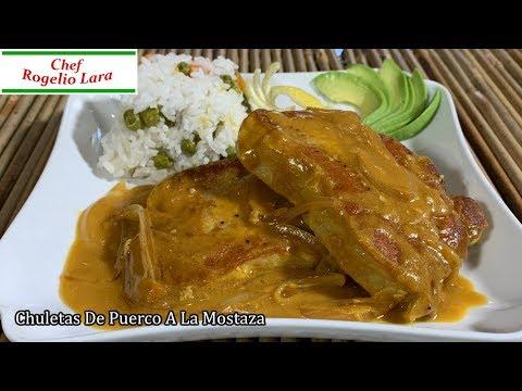 Chuletas De Puerco A La Mostaza , Receta Deliciosa !