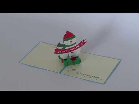 Snowman Blue 3D Card