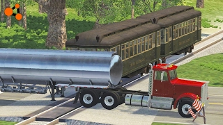 Beamng Drive  Subway Train Crashes #1 With Real Sounds, Railway Crossing Crashes, Road Train