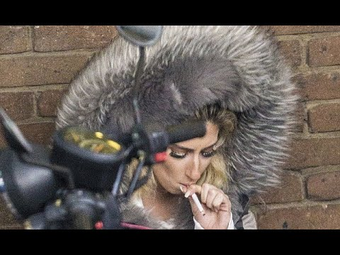 Stacey Solomon steps out for a cigarette break in Essex