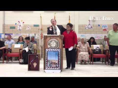 CCSD Superintendent Don Levinski speaks at the new Naschitti Elementary School