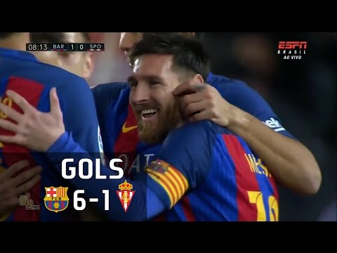 Gols - Barcelona 6 x 1 Sporting Gijón - La Liga 16-17