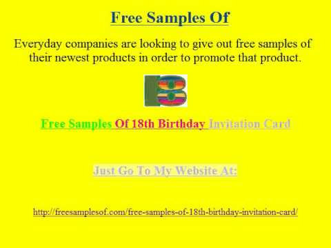 Free Samples Of 18th Birthday Invitation Card 2 YouTube – Free 18th Birthday Invitations