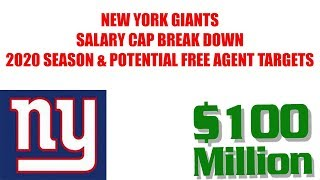 NEW YORK GIANTS PROJECTED SALARY CAP SPACE IN 2020 SEASON AND FREE AGENTS THEY CAN TARGET