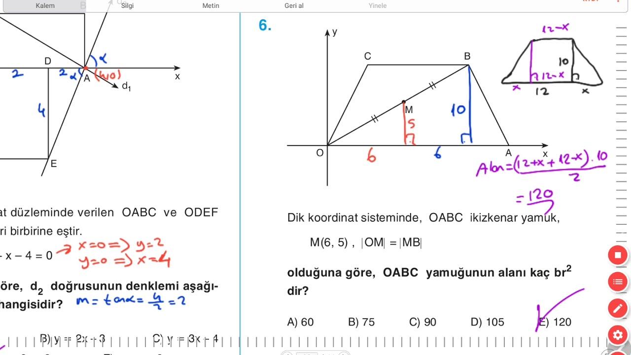 Analitik Geometri A 2 Testi Acil Geometri Youtube