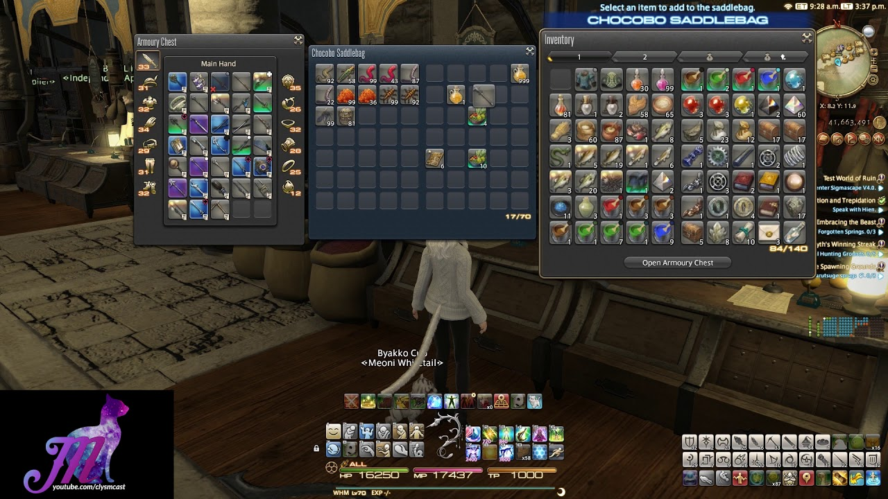 FFXIV: 4 2: Inventory Changes, 999 Stacks & Chocobo Saddlebags!