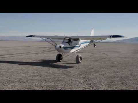 Slow Bush Plane Landing to Noseup Taxi   Nevada Desert Fly In