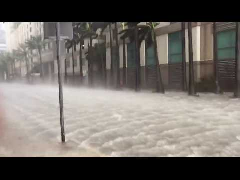 Hurricane Irma floods the streets of Downtown Miami