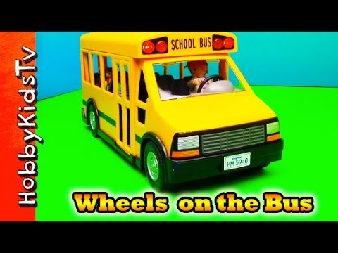 Wheels on the Bus Song Playmobil Bus Toy, Box Opening and Review by HobbyKidsTV