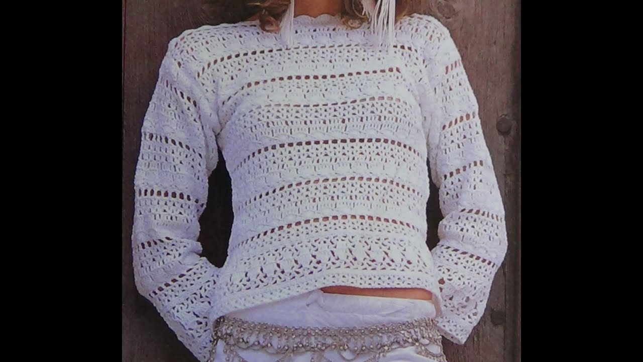 Como Tejer sweater calado a crochet - YouTube
