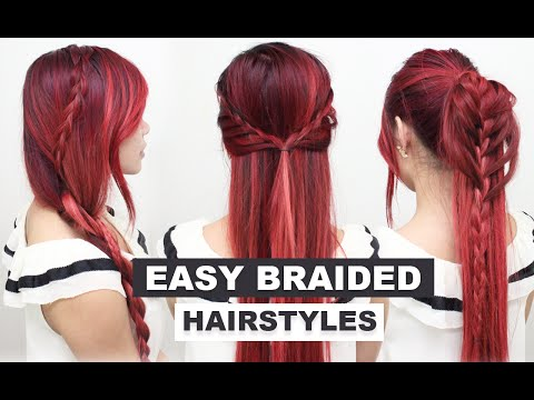 4 Easy Braided Hairstyles l Cute Heatless Hairstyles for Long Hair l Hairstyles for School