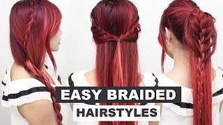 4 Easy Braided Hairstyles l Heatless Hairstyles l Cute School Hairstyles for Medium Long Hair