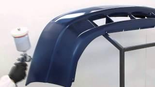 Окраска пластикового бампера материалами Reoflex - базовая эмаль и лак (плавный переход)