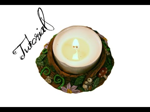 Polymer Clay Candle Holder | Fairy Forest Fantasy DIY Ornament/Gift | Faux Wood | Velvetorium