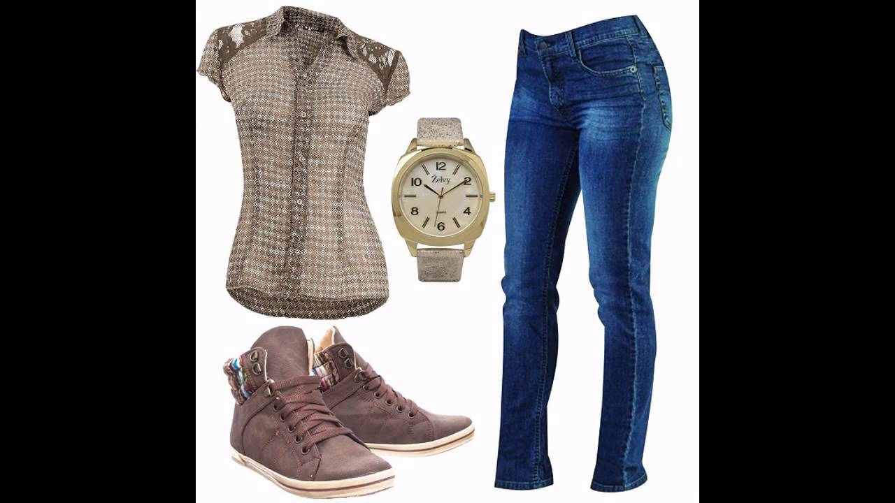 Outfits casuales con jeans y tenis - YouTube