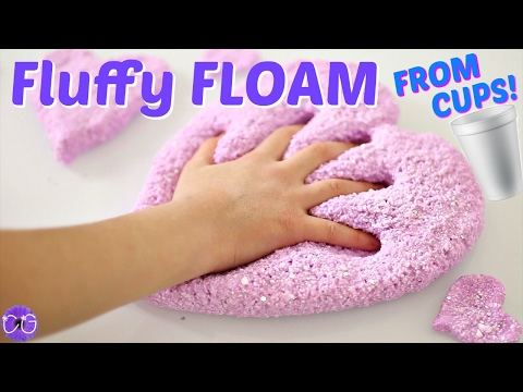 FLUFFY FLOAM SLIME FROM STYROFOAM CUPS!  HOW TO MAKE FLOAM SLIME!