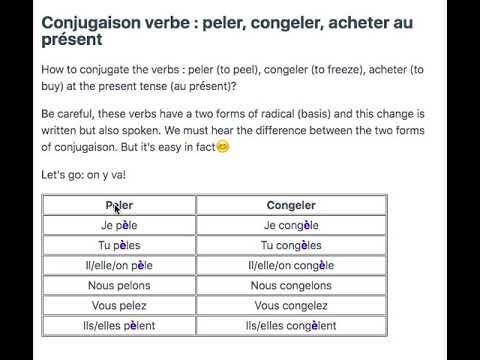 Peler Congeler Acheter French Conjugaison Youtube